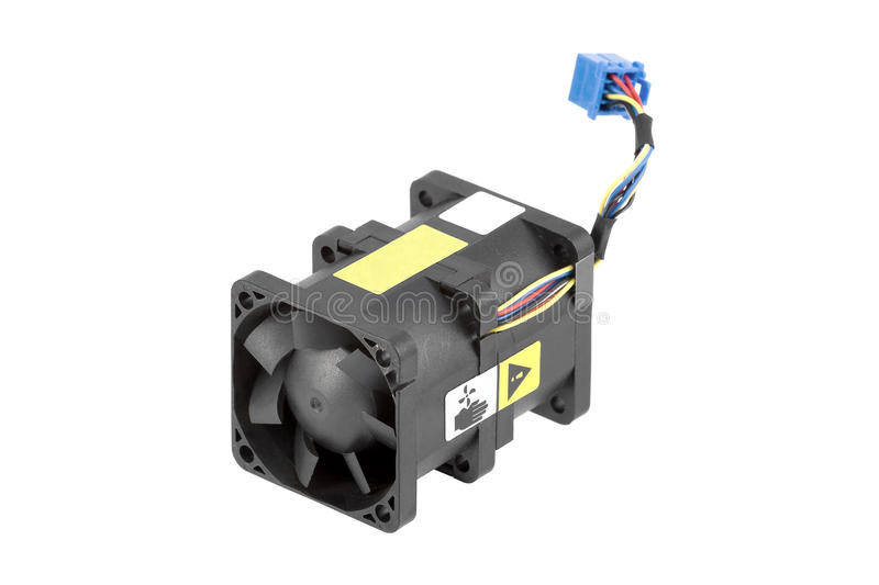 Dual-Rotor Cabled Cooling Fan. Powerful cabled cooling fan using two rotors for better airflow. Isolated over white stock photos