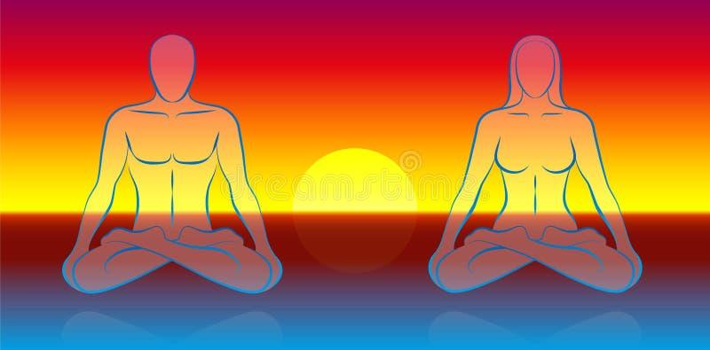 Dual Soul Meditation vector illustration