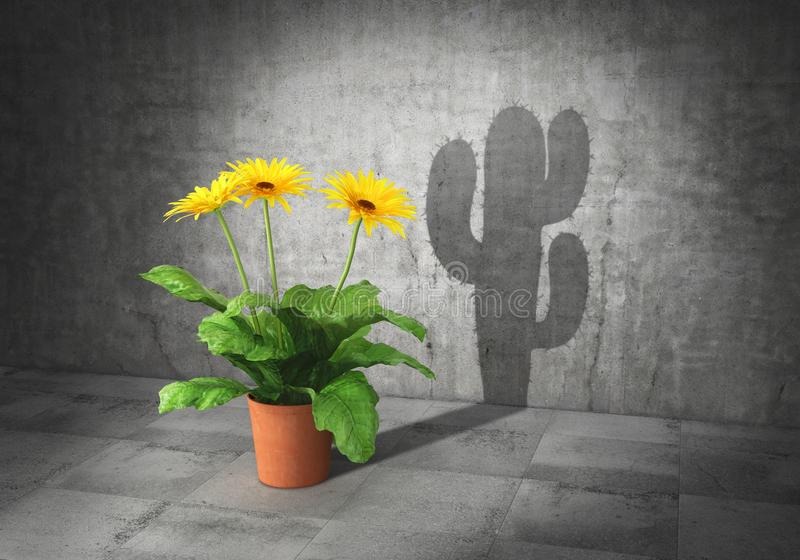 Duality concept. Metaphor of human essence. Vase with flower cast shadow in form of cactus. 3d. Illustration stock illustration