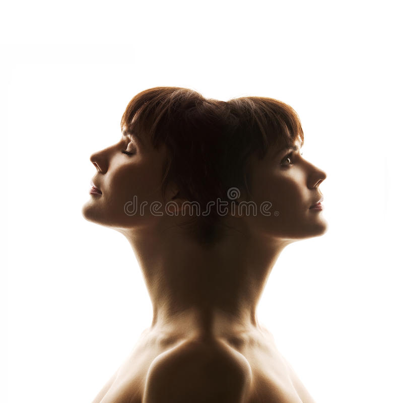 Duality of human nature. Character, person, soul, mind royalty free stock photos