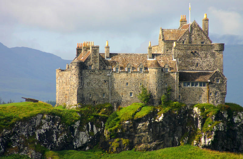 Duart castle , Isle of Mull Scotland. Duart castle , Isle of Mull taken from the boat stock photos