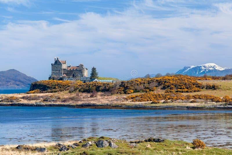 Duart slott, landskap av Mull ön arkivfoton