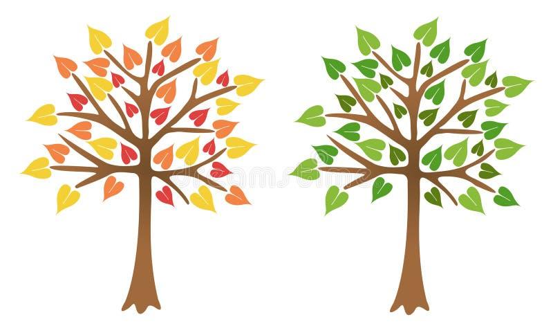Duas árvores com folhas brilhantes ilustração royalty free