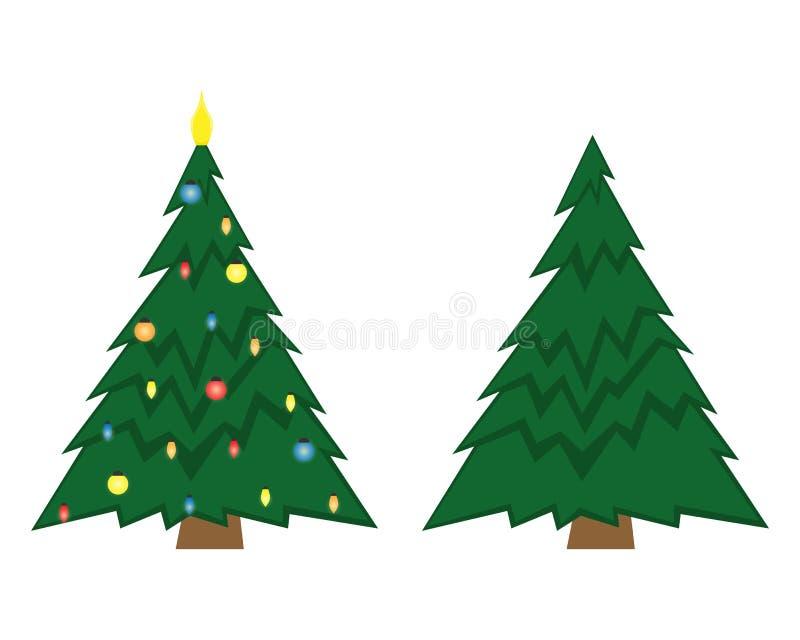 Duas árvores de Natal do vetor Árvore de Natal antes de decorar e em seguida ilustração stock