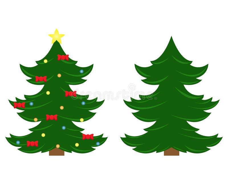 Duas árvores de Natal do vetor Árvore de Natal antes de decorar e em seguida ilustração royalty free