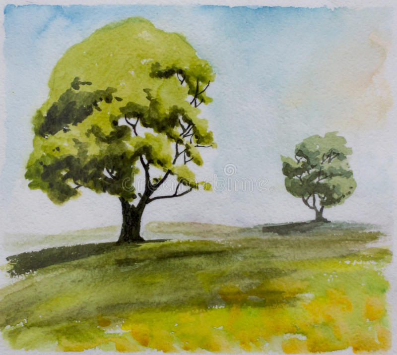 Duas árvores em uma distância ilustração do vetor
