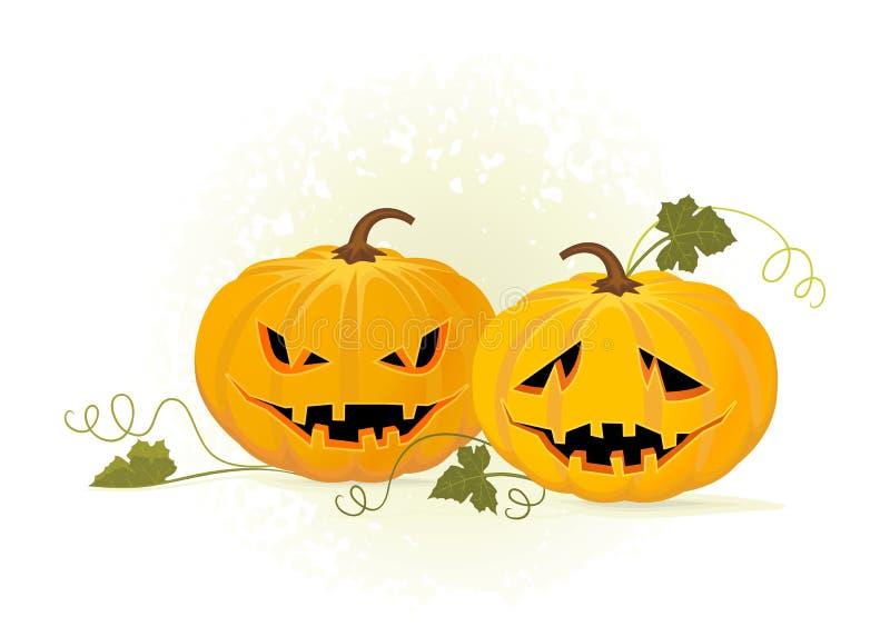 Duas abóboras. Halloween ilustração do vetor