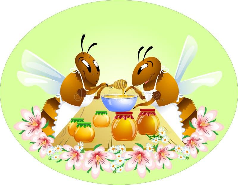 Duas abelhas engraçadas ilustração stock