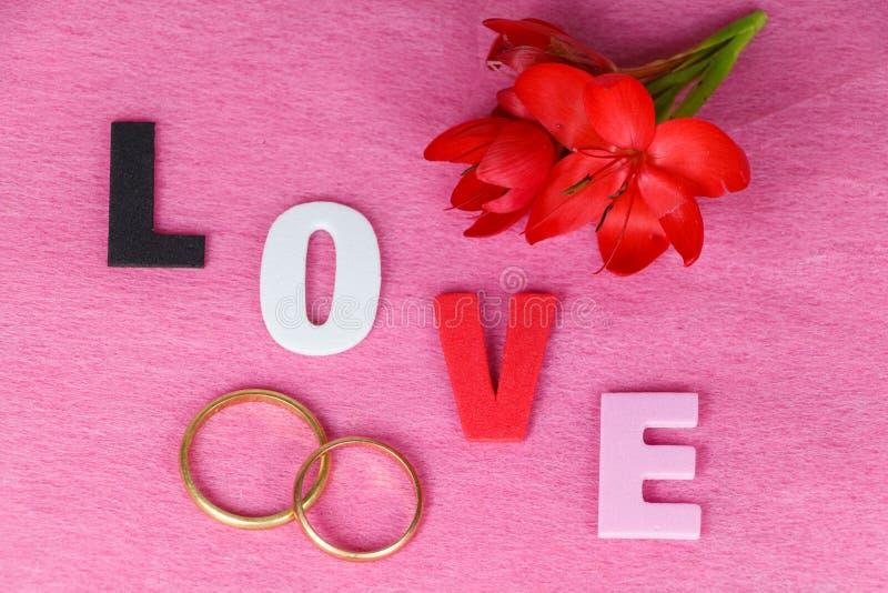 Duas alianças de casamento, flores vermelhas e amor imagem de stock
