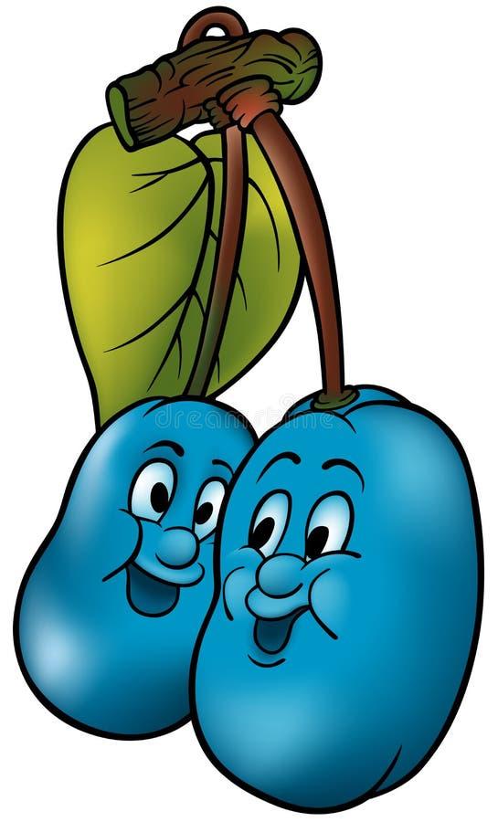 Duas ameixas azuis ilustração royalty free