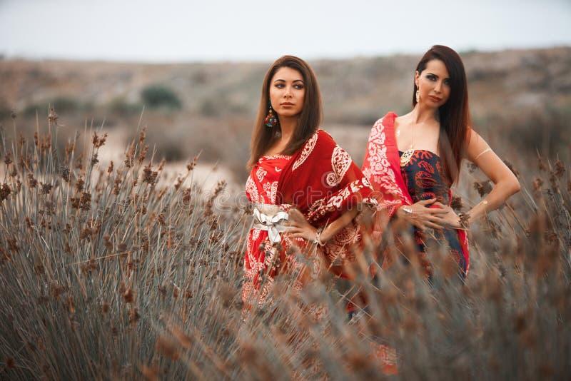 Duas amigas no lenço colorido vestem-se, fora retrato foto de stock royalty free