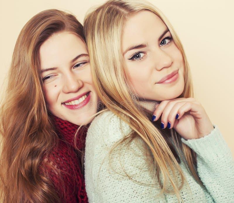 Duas amigas novas em camisetas do inverno dentro imagens de stock royalty free