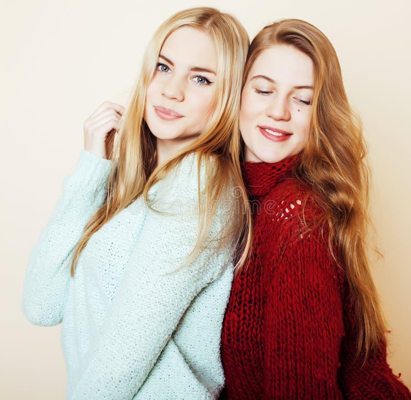 Duas amigas novas nas camisetas do inverno dentro que têm o divertimento Lif fotos de stock