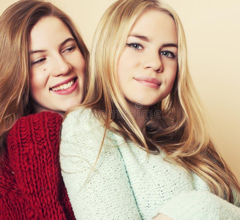 Duas amigas novas nas camisetas do inverno dentro que têm o divertimento lifestyle Os amigos adolescentes louros fecham-se acima foto de stock royalty free