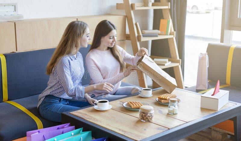 Duas amigas novas que sentam-se no café após a compra bem sucedida fotografia de stock