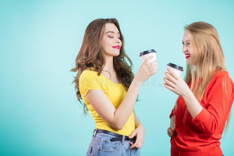 Duas amigos ou irmãs que falam tendo uma xícara de café fotografia de stock royalty free
