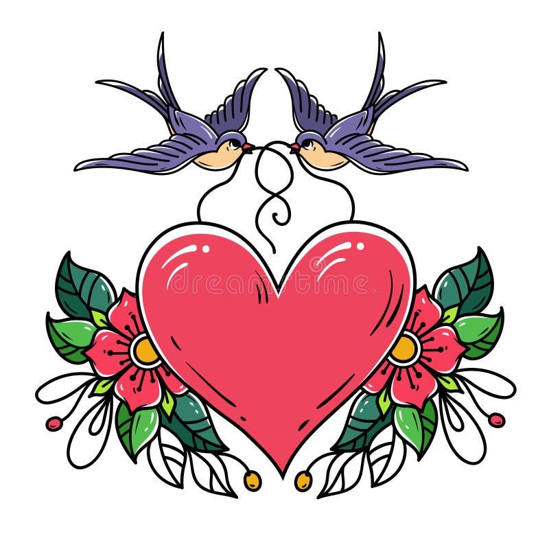 Duas andorinhas levam o coração vermelho decorado com flores Tatuagem da velha escola ilustração stock