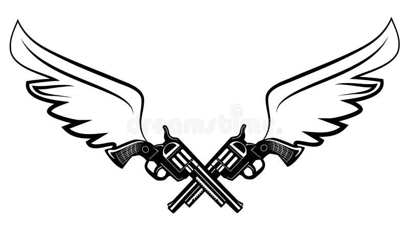 Duas armas do revólver do vaqueiro ilustração do vetor