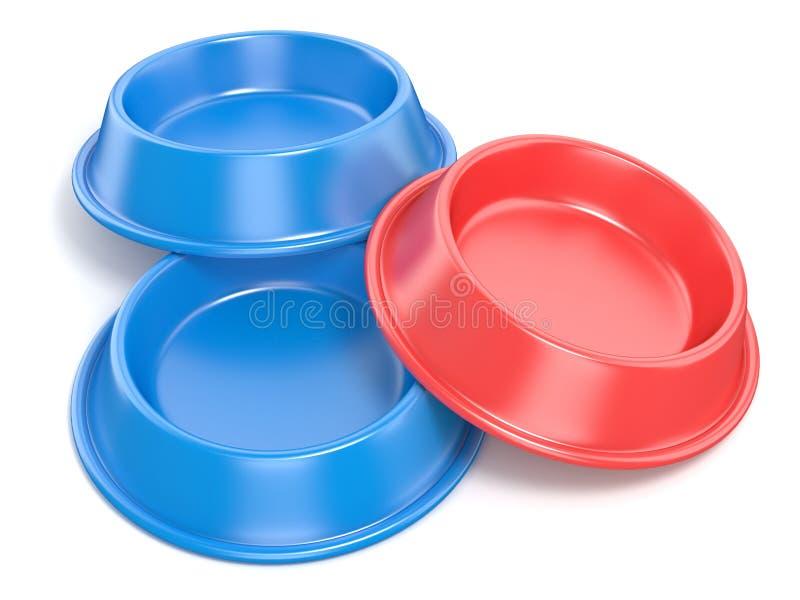 Duas bacias azuis do animal de estimação para o alimento e o um vermelho rendição 3d ilustração do vetor