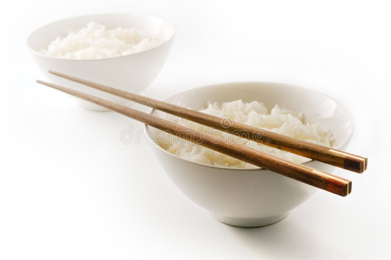 Duas bacias de arroz imagem de stock royalty free