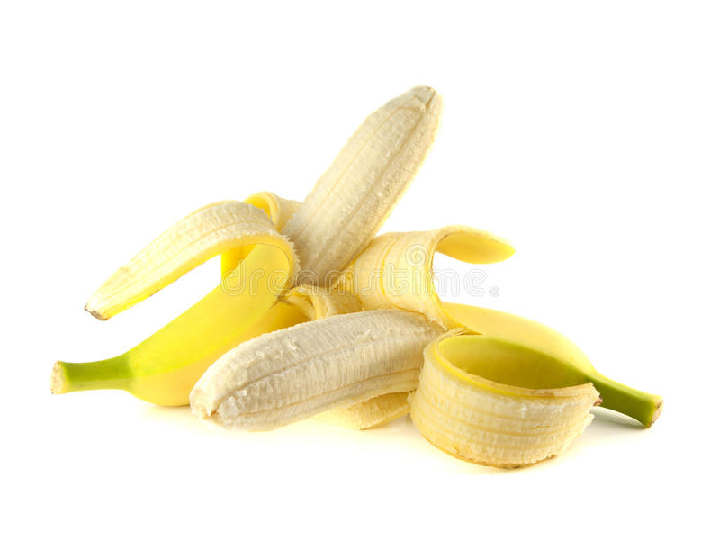 Duas bananas abertas isoladas no fundo branco fotografia de stock royalty free