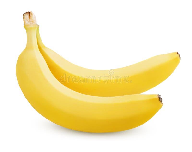 Duas bananas isoladas no branco foto de stock