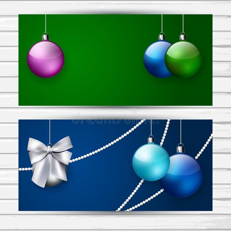 Duas bandeiras à moda do Natal ilustração do vetor