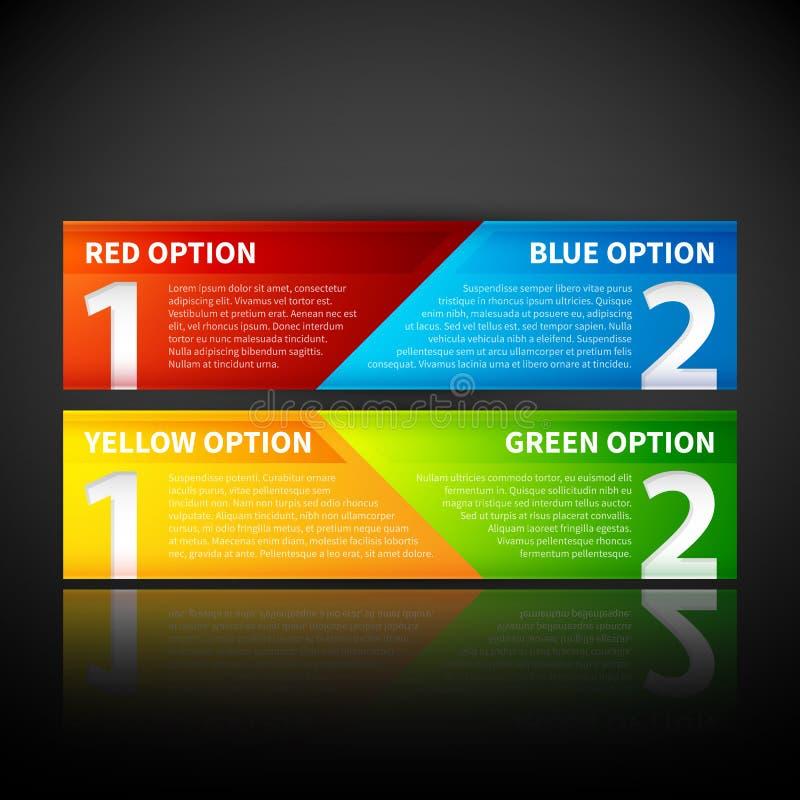 Duas bandeiras coloridas, combinando duas opções ou dois pontos de vista ilustração do vetor