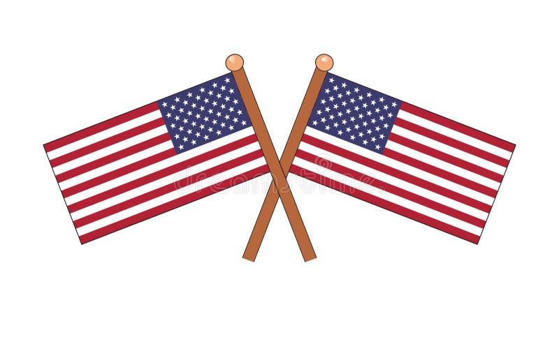 Duas bandeiras de América em um fundo branco ilustração do vetor