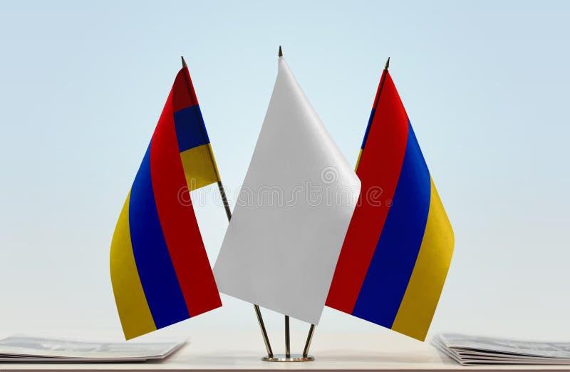 Duas bandeiras de Armênia fotografia de stock