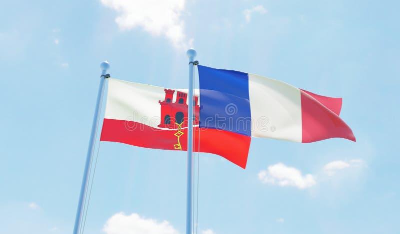 Duas bandeiras de ondulação ilustração stock
