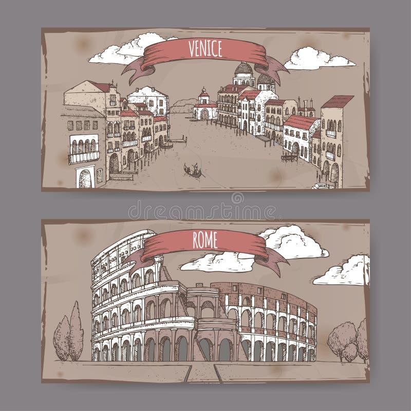Duas bandeiras do curso do vintage com Grand Canal em Veneza e em Colosseum em Roma, Itália ilustração royalty free