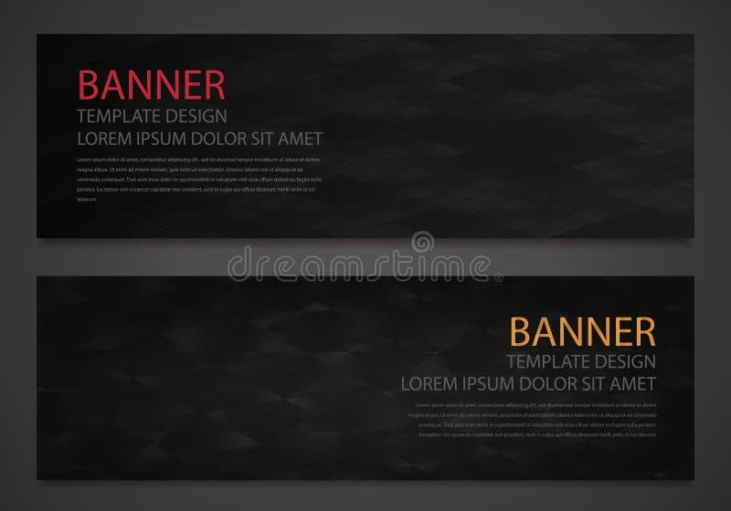 Duas bandeiras pretas abstratas Molde do projeto de negócio Molde do Web site Bandeiras horizontais ajustadas Vetor ilustração stock