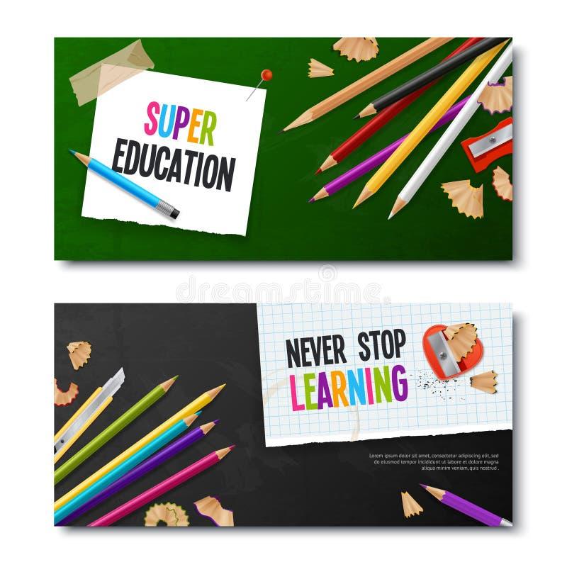 Duas bandeiras realísticas com lápis coloridos ilustração stock