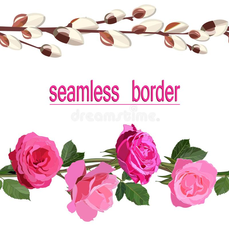 Duas beiras sem emenda de rosas e dos galhos cor-de-rosa brilhantes do salgueiro de florescência macio isolado no fundo branco ilustração do vetor