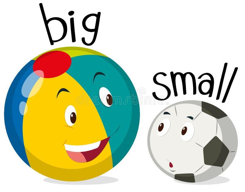 Duas bolas uma grandes e uma pequena ilustração stock