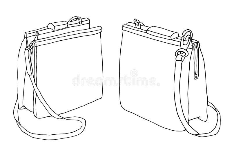 Duas bolsas Dois lados Linha esboço do vetor da arte ilustração do vetor