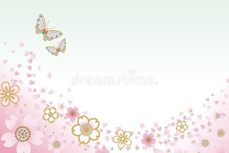 Duas borboletas e cerejas blossoms-EPS10 ilustração royalty free
