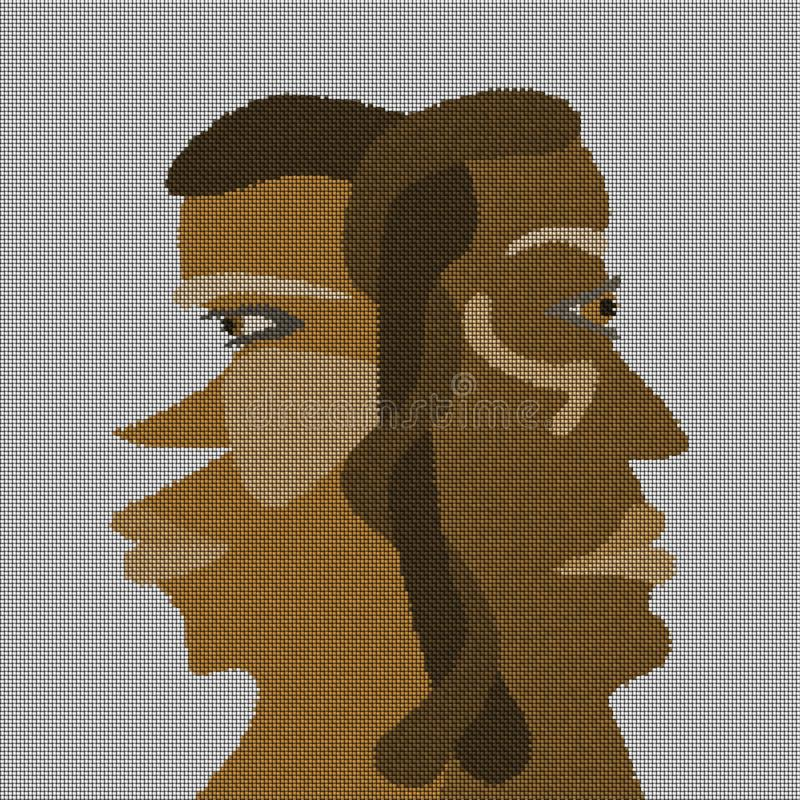 Duas cabeças interconectadas em tons marrons ilustração do vetor