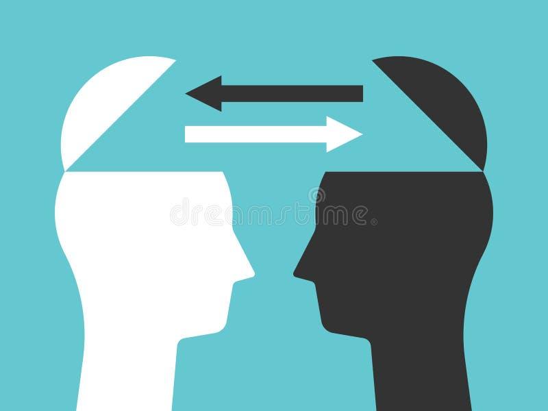 Duas cabeças que trocam pensamentos ilustração do vetor
