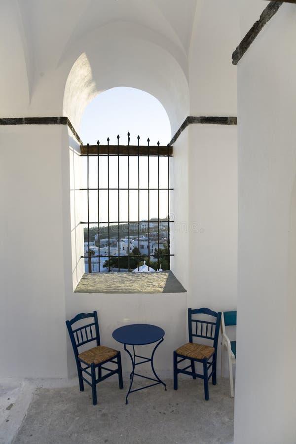 Duas cadeiras azuis foto de stock