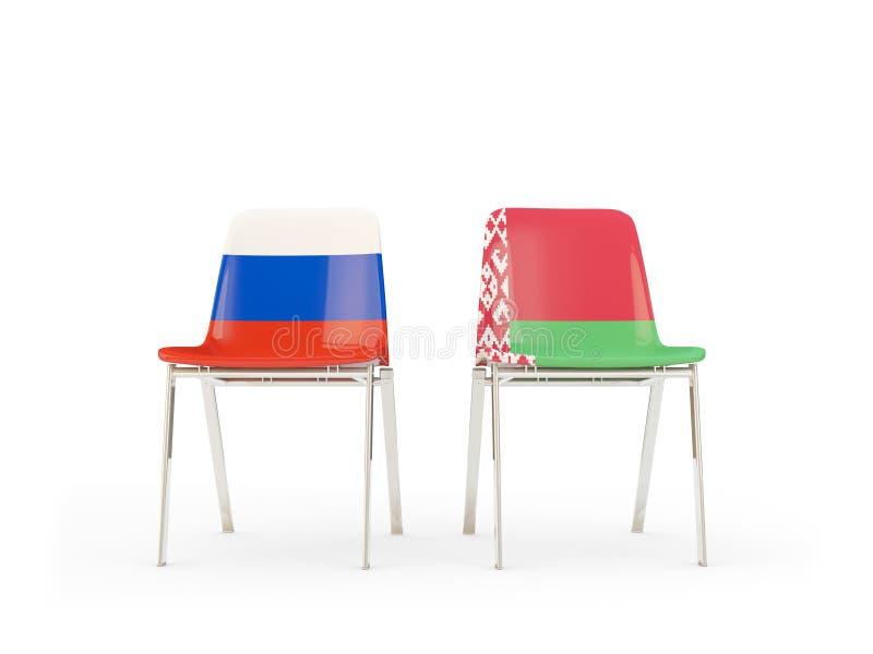 Duas cadeiras com as bandeiras de Rússia e de belarus isolados no branco ilustração royalty free