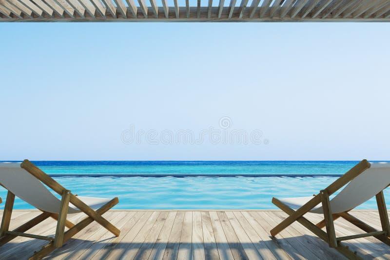 Duas cadeiras de plataforma perto de uma associação ilustração stock