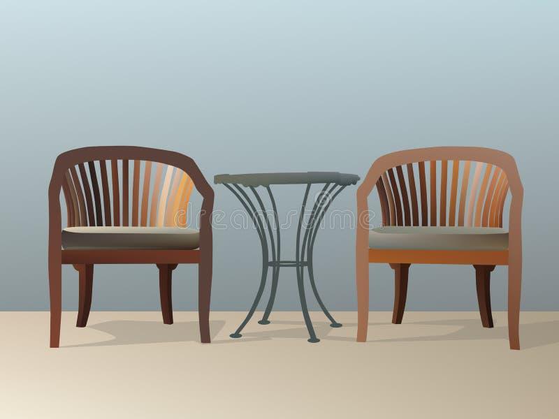 Duas cadeiras e tabelas ilustração stock