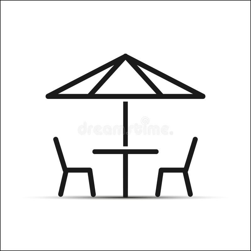 Duas cadeiras e tabelas sob o guarda-chuva, projeto simples ilustração do vetor