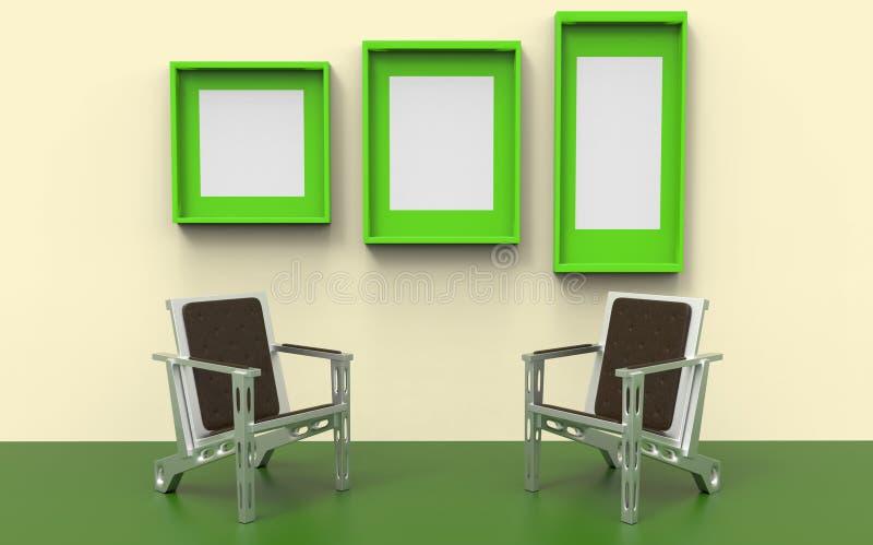 Duas cadeiras entre o verde foto de stock royalty free