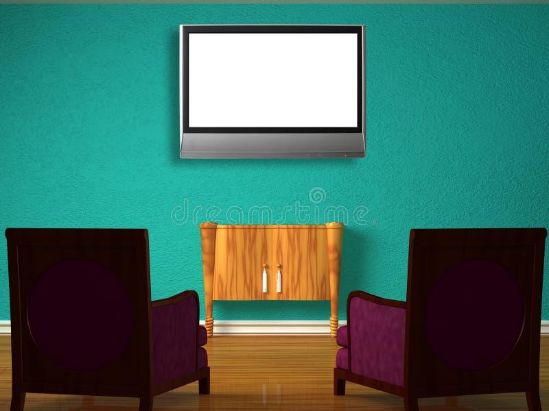 Duas cadeiras luxuosos com tabela de madeira e tevê do LCD ilustração royalty free