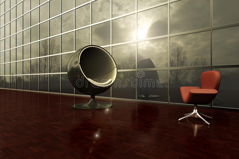 Duas cadeiras modernas que enfrentam-se na plataforma exterior de um prédio de escritórios ilustração stock