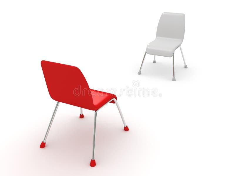 Duas cadeiras no branco. conceito do negócio do diálogo ilustração do vetor