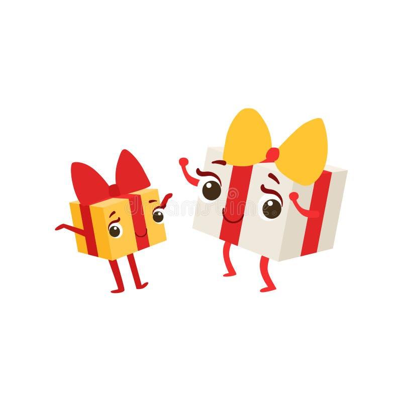 Duas caixas com do caráter feminino animado dos desenhos animados do objeto da festa de anos das crianças dos presentes ilustraçã ilustração do vetor